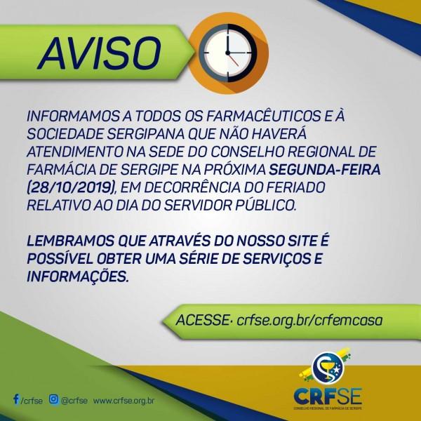SEDE DO CRF/SE NÃO FUNCIONARÁ NESTA SEGUNDA-FEIRA