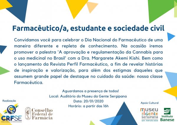 """A palestra """"A aprovação e regulamentação da Cannabis para o uso medicinal no Brasil"""" acontece nesta segunda, 20, no Museu da Gente Sergipana"""