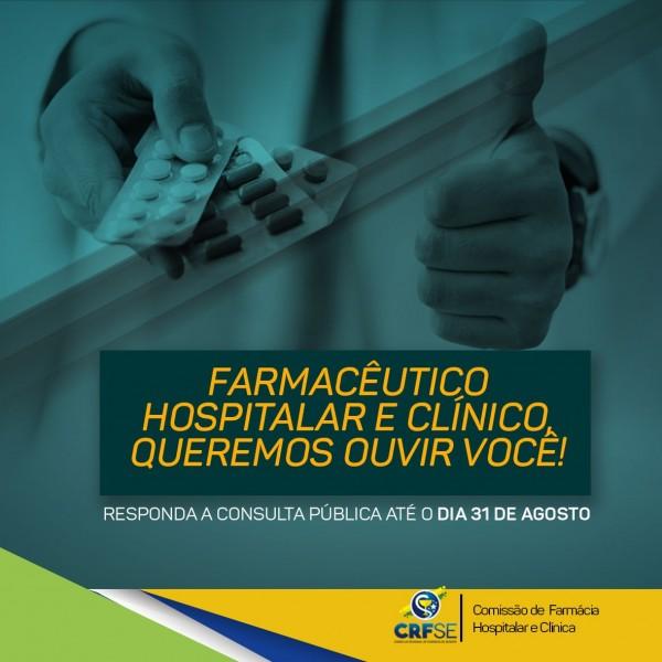 CRF/SE lança consulta pública para identificar o perfil do farmacêutico hospitalar no estado