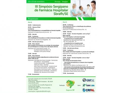 III SIMPÓSIO SERGIPANO DE FARMÁCIA HOSPITALAR DA SBRAFH-SE